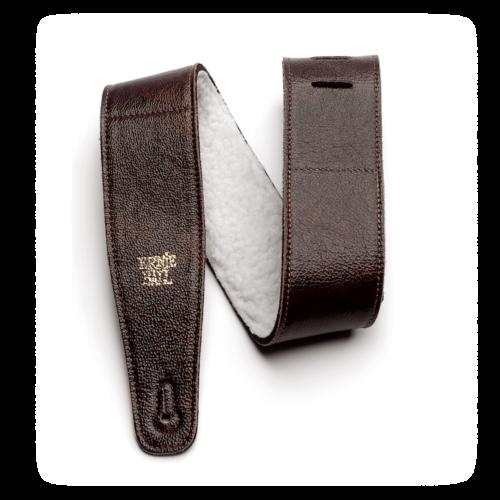 "Ernie Ball 2.5"" Italian Leather Strap With Fur Padding - Chestnut"